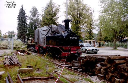 DE-08237 Rothenkirchen Bahnhof Dampflok 99 516 (Hartmann 1779/1892) Sächsische IV K im August 1993