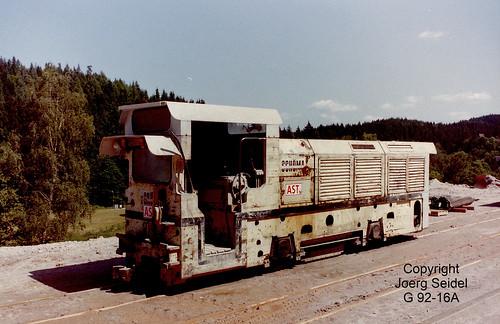 DE-08304 Schönheide Abwasserüberleitungsstollen Schönheide 750 mm Gleisförderanlage mit Schöma-Diesellok 4967/1988 der Baufirma Ast im Juni 1998