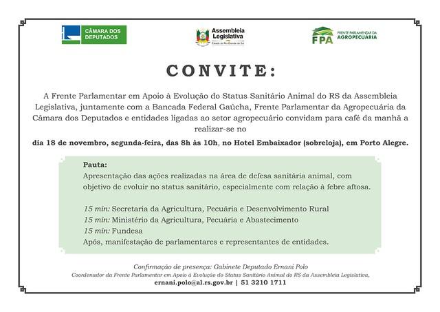 18/11/2019 Reunião da Frente Parlamentar em Apoio à Evolução do Status Sanitário Animal do RS