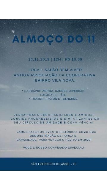 10/11/2019 Reunião Regional Progressistas em São Francisco de Assis