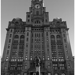A look up at the liver building.