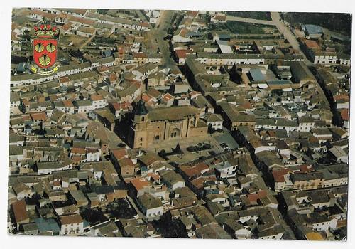 Villahermosa, Ciudad Real : vista aérea Plaza de España e Iglesia Parroquial