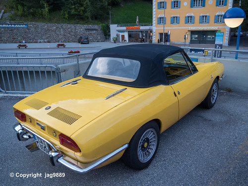Classic Fiat 850 Sports Car, Tiefencastel, Canton of Grisons, Switzerland