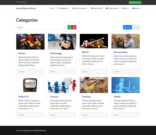 bootstrap 4 - categories page