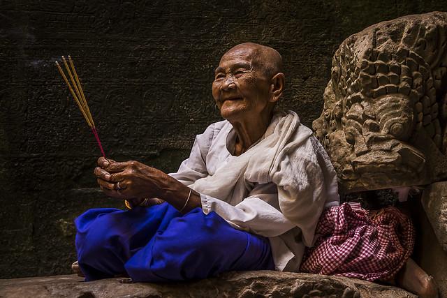 Religieuse bouddhiste d'Angkor