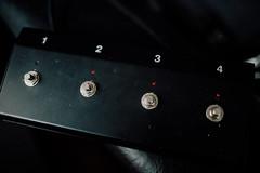 Closeup of midi foot controller for guitar amp.