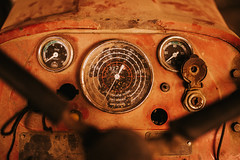 The interior of the cabin inside of the tractor
