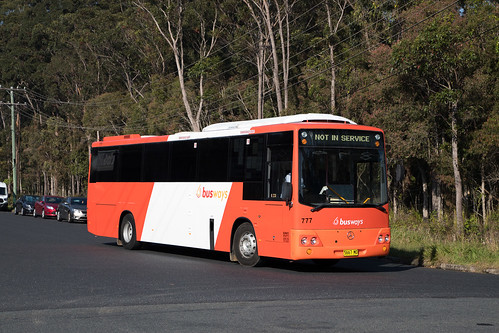 Busways Coffs Harbour (777) Mercedes Benz OH1421/ABM CB50 departing the depot for a morning run