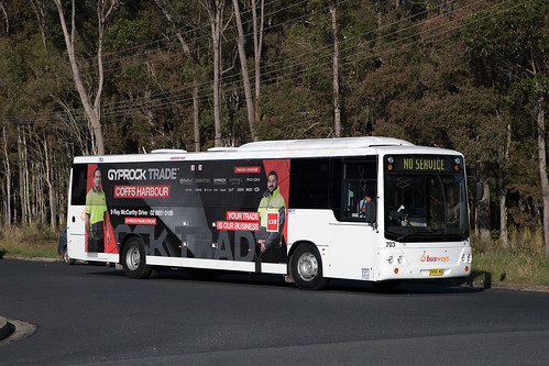 Busways Coffs Harbour (703) Renault PR100.3/CC CB50 departing the depot for a morning run