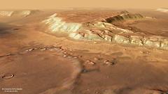 Tafelberge und stark erodierter Krater in Deuteronilus Mensae