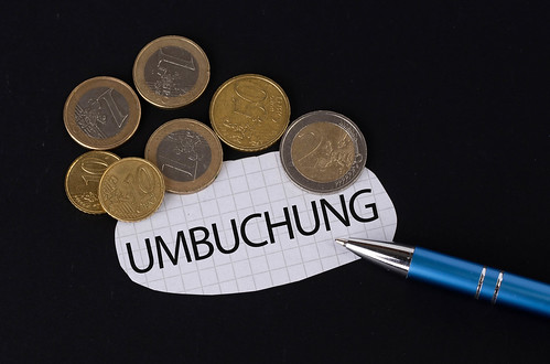 Umbuchung text on piece of paper