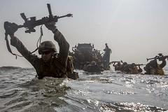 U.S. Marines wade ashore during exercise Tiger TRIUMPH.