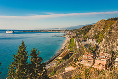 Beautiful Scenery Of Mount Etna And Coastline Of Taormina