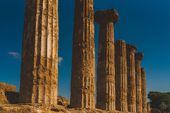 Close Up Of Colonnade In Alley Of Temples In Sicily