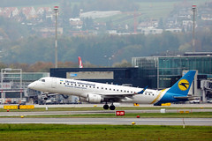Ukraine International Airlines Embraer takes off from Zurich Airport, UR-EME