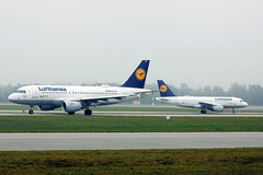 Two Lufthansa airplanes on the runway, Munich Airport