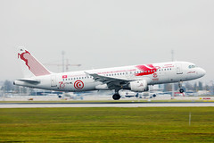 """Tunisair Airbus A320 """"Carthage Eagles (2018 World Cup)"""" livery taking off from Munich Airport"""