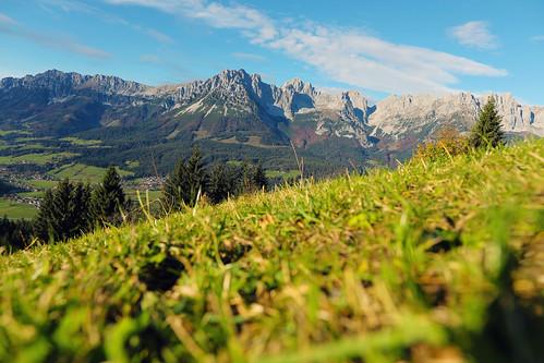 Wilder Kaiser in Austrian ski resort landscape