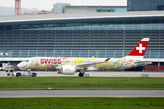 "Swiss Air Lines Bombardier, ""Fête des Vignerons 2019 - Fichtre"" livery at Zurich Airport"