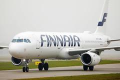 Finnair airplane taxiing in Munich Airport