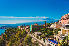 Beautiful nature of Sicily, Mediterranean sea near Taormina and Etna Vulcano, Aerial Panoramic View. Italy.