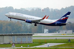 Aeroflot, Russian airlines Boeing B737 takes off from Zurich Airport