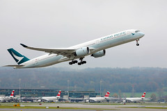Cathay Pacific Airbus A350 taking off from Zurich Airport