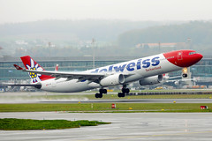 Edelweiss Switzerland Airlines A330 taking off from Zurich Airport