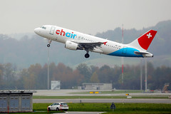 Chair Airlines plane, airbus A319 taking off from Zurich Airport, HB-JOG