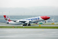 Edelweiss Air Airbus A340 taking off from Zurich Airport, HB-JMD