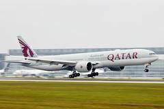 Qatar Boeing B777 taking off from Munich Airport, A7-BEB