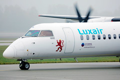 Luxair airplane, close-up view in Munich Airport
