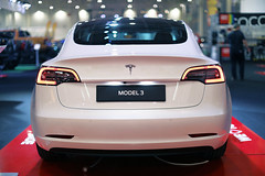 Tesla Model 3, back view, Bucharest Auto Show 2019, SAB