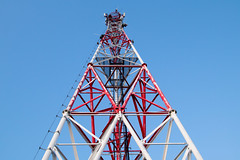 Cell tower and a perfect blue sky in the background
