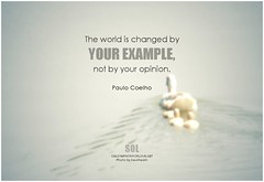 Paulo Coelho The world is changed by your example, not by your opinion