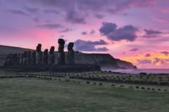 Purple dawn with Moai