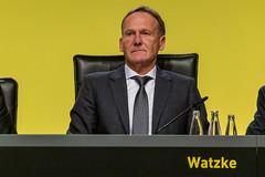 Hans-Joachim Watzke, BVB-Geschäftsführer, auf der Bühne bei der Mitgliederversammlung von Borussia Dortmund