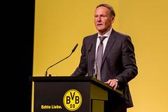 Hans-Joachim Watzke am Rednerpult vor den BVB-Vereinsfarben, während der Hauptversammlung in Dortmund