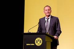 BVB-Vereinsfarben auf der Hauptversammlung: Nahaufnahme des Geschäftsführers von Borussia Dortmund Hans-Joachim Watzke am Rednerpult