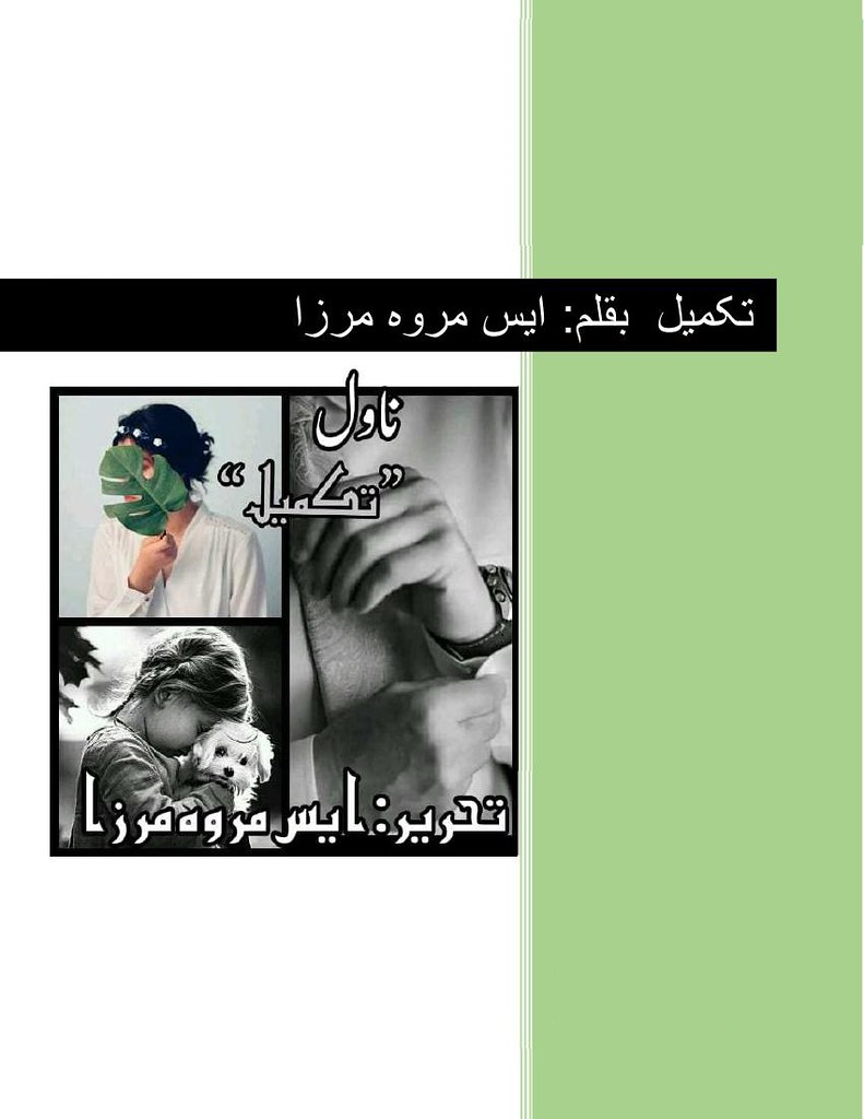 Takmeel is a very well written complex script novel by S Marwa Mirza which depicts normal emotions and behaviour of human like love hate greed power and fear , S Marwa Mirza is a very famous and popular specialy among female readers