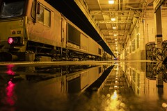 Night time railway reflections