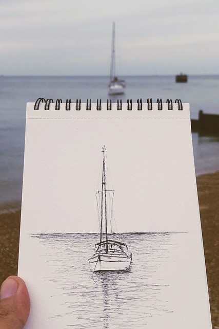 Sketch of small boat at Whitstable by Zamali.com