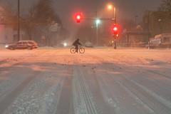 Biker during Minneapolis snowstorm