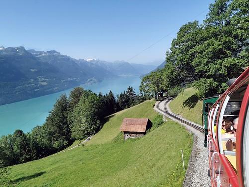 Traveling with Brienz-Rothorn railway in Switzerland