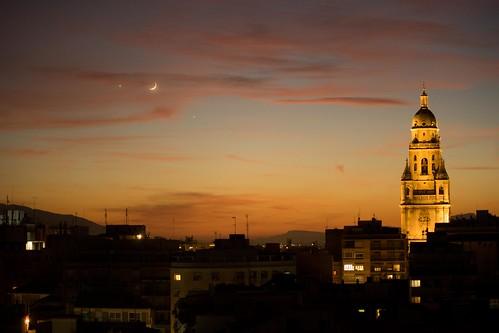 atardecer en Murcia. Luna, Venus, Júpiter