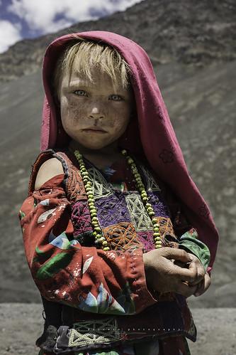 Little wakhi shepherdess in Wakhan Corridor, Afghanistan.