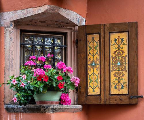 Window in Obernai, Alsace, France