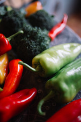 Green and red peppers.