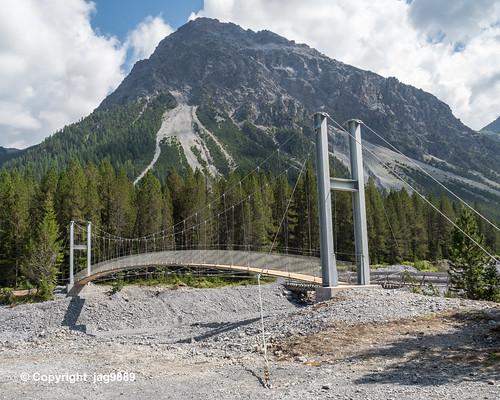 Suspension Bridge over the Furggatobelbach, Arosa, Canton of Grisons, Switzerland