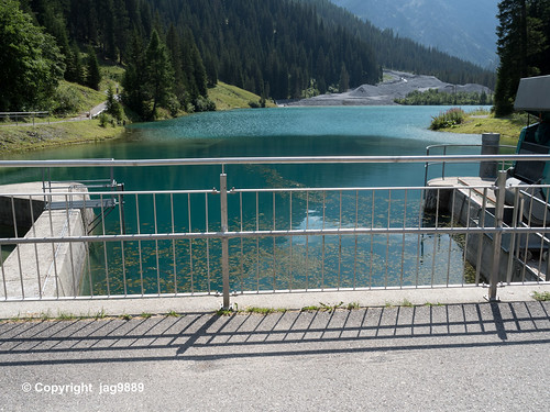 PLE120 Iselsee Dam Bridge over the Plessur River, Arosa, Canton of Grisons, Switzerland